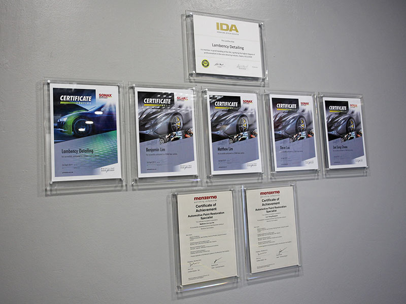Lambency's Award and Certificates | Lambency Detailing